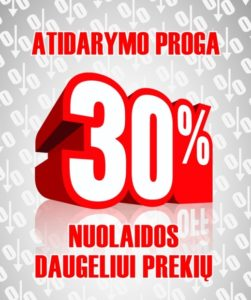 """30 % nuolaida naujoje įmonės """"Eoltas"""" parduotuvėje"""
