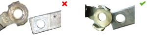 Masės prijungimas prieš išvalymą: prastas kontaktas.Masės prijungimas po išvalymo: geras kontaktas.
