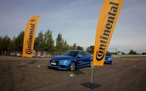 """Perkantiems """"Continental"""" padangas – galimybė nemokamai treniruotis """"Audi Sport Driving Academy"""" vairavimo kursuose"""